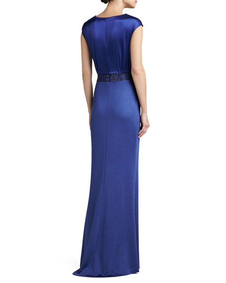 Sateen Milano Knit Gown with Liquid Satin Bodice and Sequined Waistline
