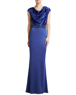 St. John Collection Sateen Milano Knit Gown with Liquid Satin Bodice and Sequined Waistline
