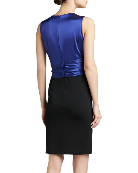 Sateen Milano Knit Dress with Sequined Liquid Satin Bodice and Sash Bow