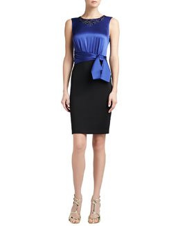 St. John Collection Sateen Milano Knit Dress with Sequined Liquid Satin Bodice and Sash Bow