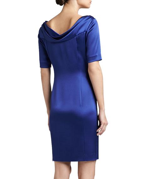 Liquid Satin Cowl-Neck Half-Sleeve Sheath Dress