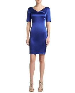 St. John Collection Liquid Satin Cowl-Neck Half-Sleeve Sheath Dress