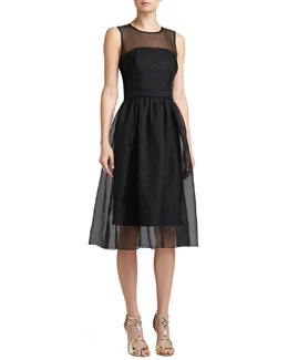 St. John Collection Sequined Milano Sheath Dress with Silk Organza Overlay