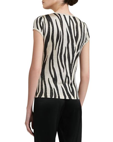 Tigre-Print Light Shimmer Knit Trapeze Cardigan