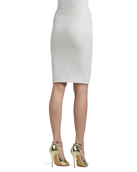 Frosted Shimmer Knit Pencil Skirt