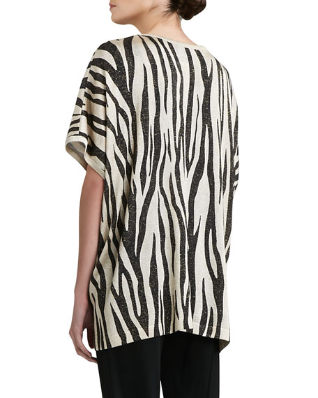Tigre-Print Light Shimmer Knit Scoop-Neck Cap-Sleeve Shell