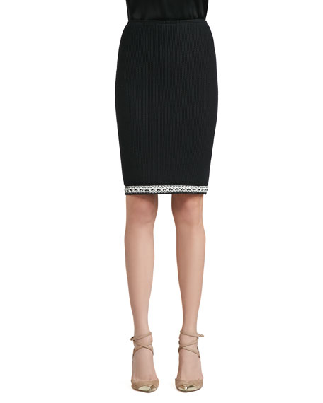 Grasse Tweed Knit Pencil Skirt with Crochet Trim