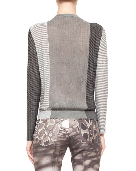 Mixed Jacquard Knit Top, Black/White
