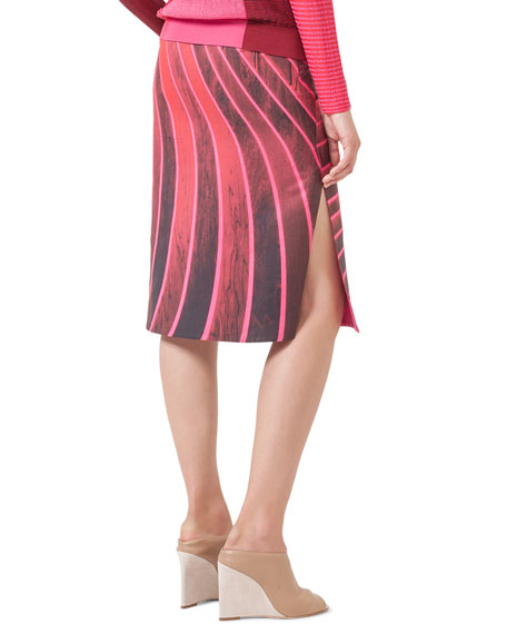 Lines Side-Slit Pencil Skirt