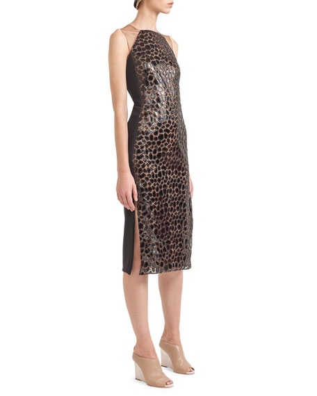 Sleeveless Appliqué Sheath Dress