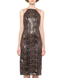 Akris Sleeveless Appliqué Sheath Dress