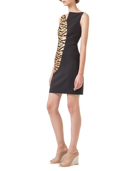 Gold-Wave Asymmetric Sheath Dress