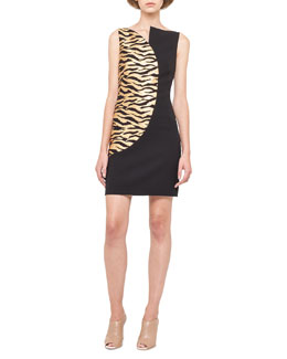 Akris Gold-Wave Asymmetric Sheath Dress