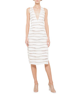 Akris Open-Square Wave Sheath Dress