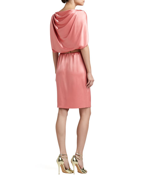 Liquid Satin Cape Dress