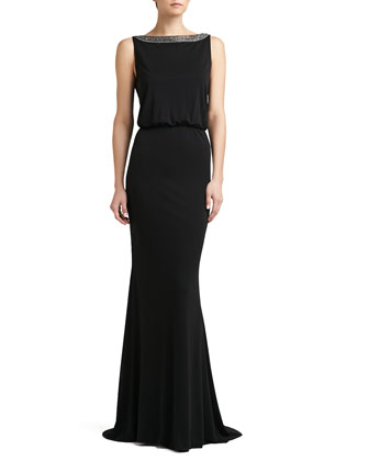 Matte Jersey Beaded Bateau-Neck Gown
