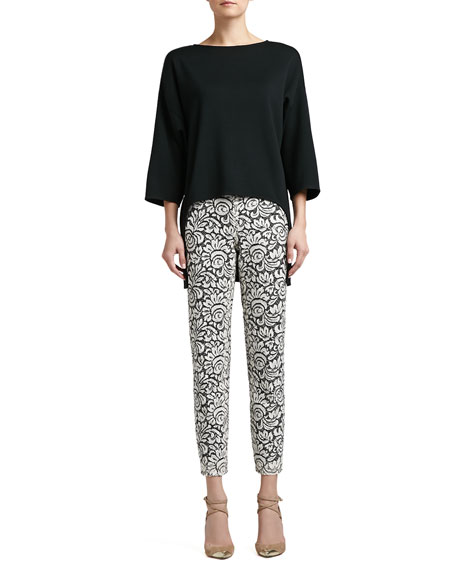 Graphic Lace Cropped Pants with Grosgrain