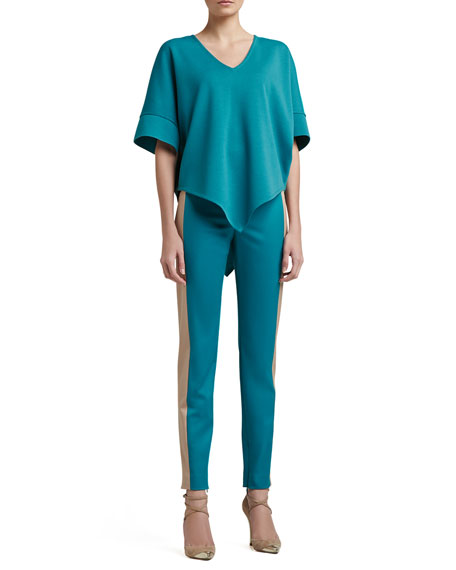 Stretch Venetian Wool Slim Ankle Pants with Contrast Side Band