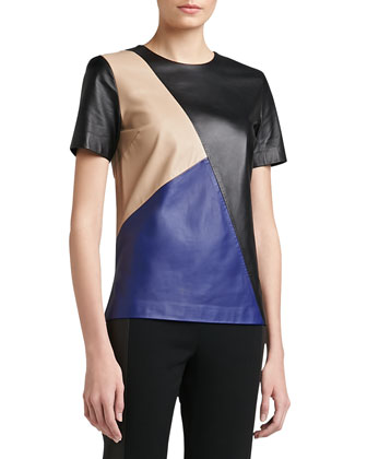 Soft Napa Leather Color Block Top With Side Slits