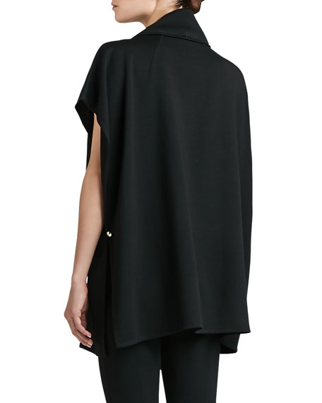 Milano Knit Asymmetrical Poncho with Stand Collar