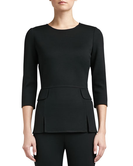 Milano Knit Vented Peplum Top with 3/4 Length Sleeves and Pocket Flap
