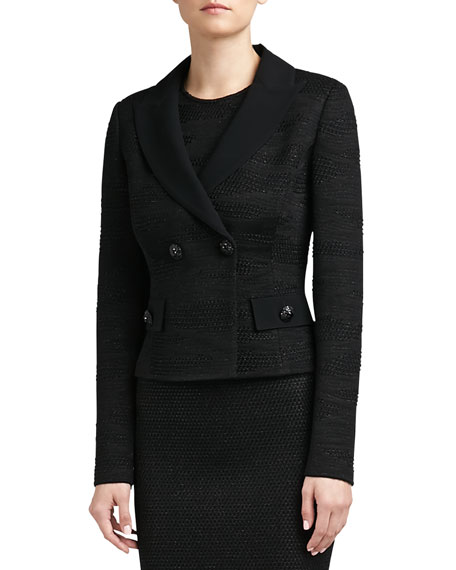 Shimmer Tiger Punto Riso Knit Fitted Double Breasted Jacket with Crepe Marocain Collar and Pocket Flaps