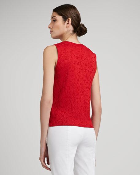 Mixed Animal Jacquard Knit Jewel Neck Shell