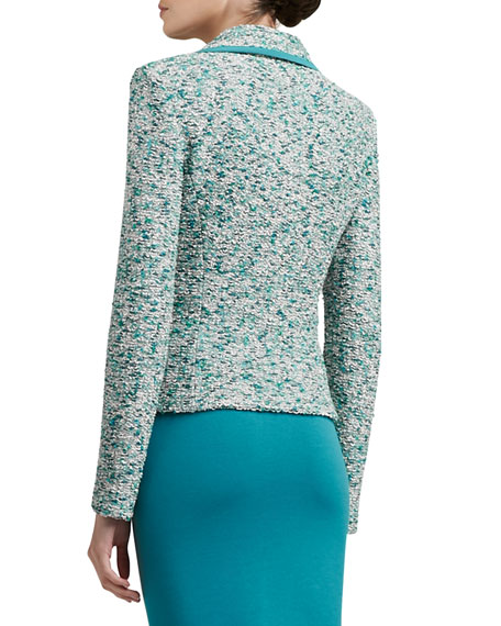 Ocean Wave Shimmer Tweed Knit Jacket With Silk CDC Binding