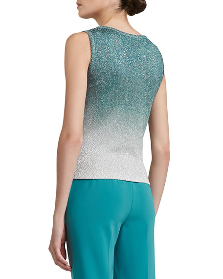 Iris Print Shimmer Boucle Knit Scoop Neck Shell
