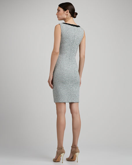 Sorbet Tweed Knit Scoop Neck Sheath Dress With Shredded Fringe Trim