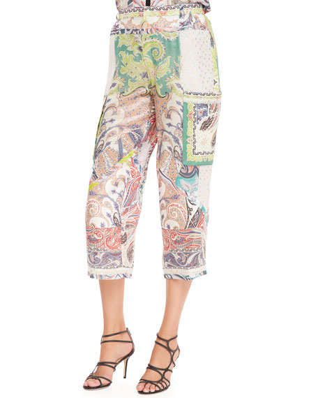 Fern Paisley Patchwork Pants, White/Multi
