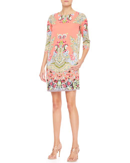 Etro 3/4-Sleeve Spaced Paisley Silk Dress, Coral