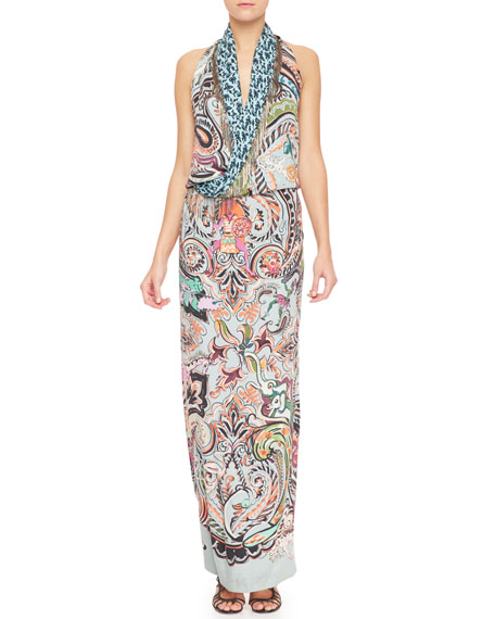Paisley & Metal Fringe Silk Gown, Blue/Multi