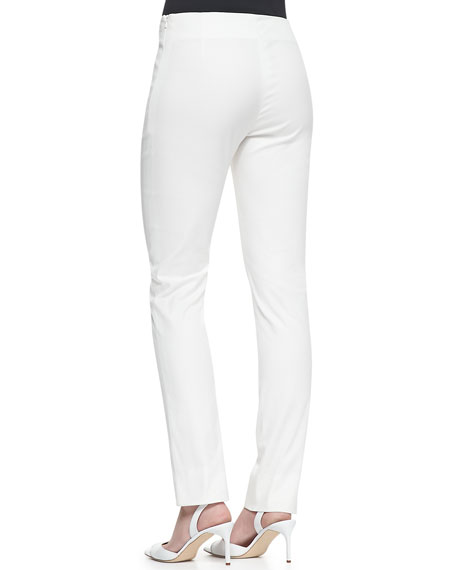 Catherine Slim Straight-Leg Pants, Ivory