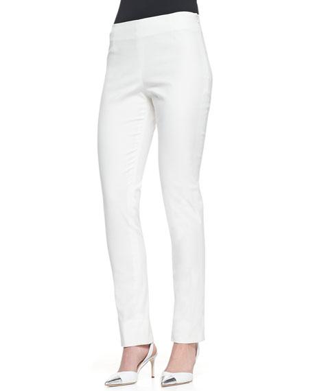 Catherine Slim Straight-Leg Pants, Ivory