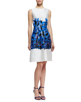 Lela Rose Embroidered Full-Skirt Sheath Dress