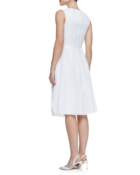 Tiered Zip-Front Cotton Peplum Dress