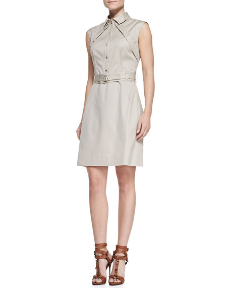 Sleeveless Belted Shirtdress