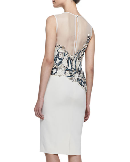 Sleeveless Beaded Sheath Dress, White/Multi