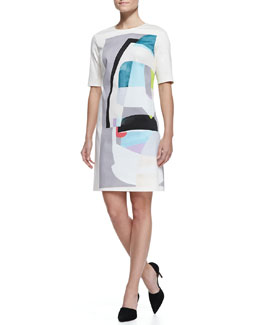Lela Rose 1/2-Sleeve T-Shirtdress, White/Multi