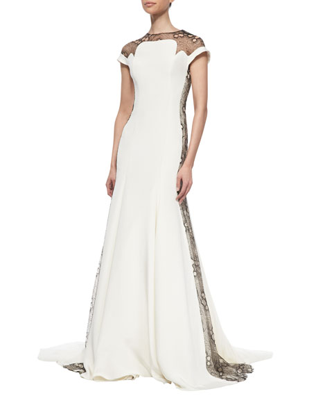 Low-Back Topography Lace-Inset Gown, Ivory