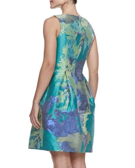 Painterly Floral Taffeta Dress, Teal