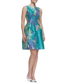 Lela Rose Painterly Floral Taffeta Dress, Teal