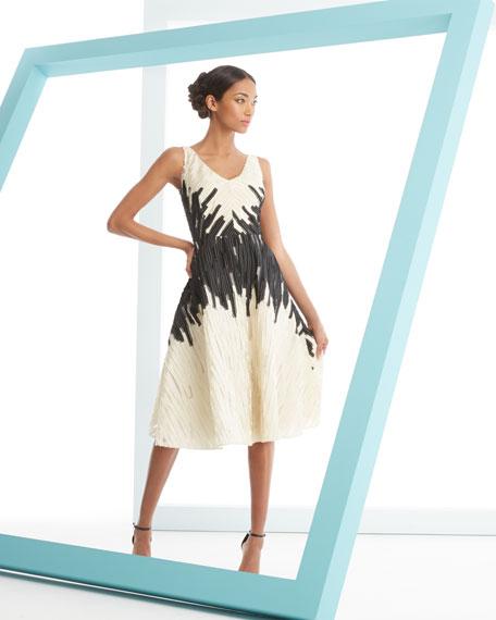 Textured Full-Skirt Jacquard Dress
