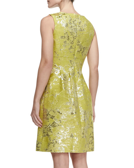 Metallic Splotched Classic Sheath Dress, Citrine