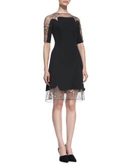 Lela Rose A-Line Lace Tulle Combo Dress