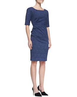 Lela Rose Printed Side-Ruched Dress