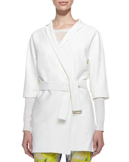Belted 3/4-Sleeve Trench Jacket, Ivory