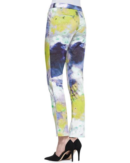 Lela Rose Caroline Watercolor-Print Slim Pants