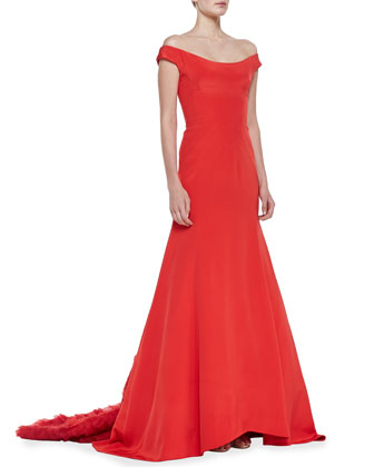 Off-the-Shoulder Gown with Ruffled Train, Persimmon